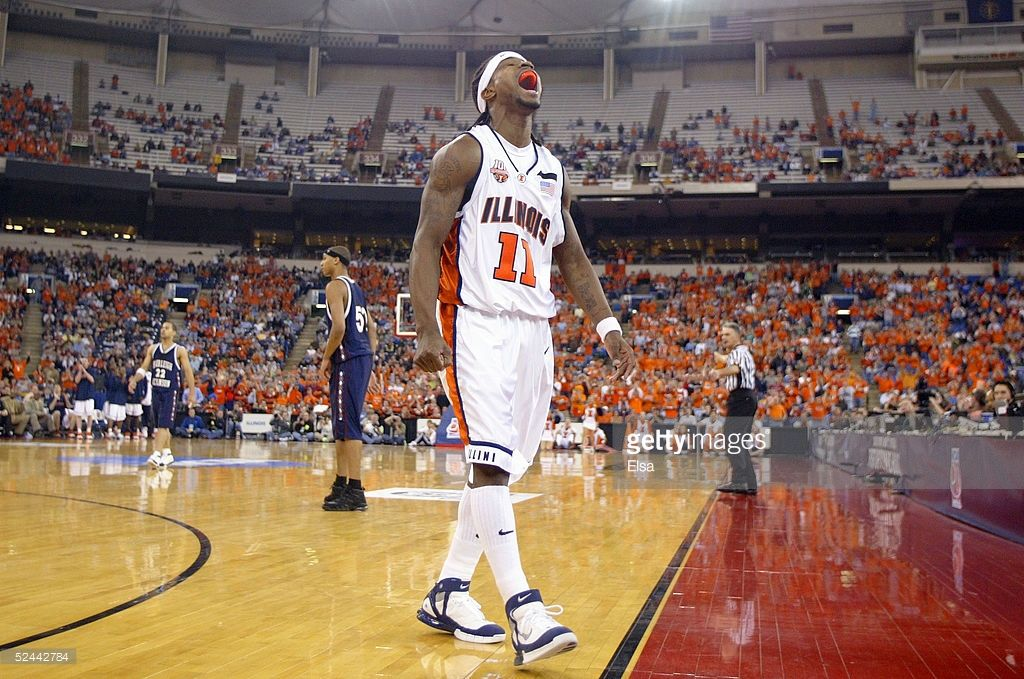 Dee Brown Of The Illinois Fighting Illini Reacts To A Call In Favor Picture Id52442784 10 Illini Basketball Illinois Fighting Illini High Top Basketball Shoes