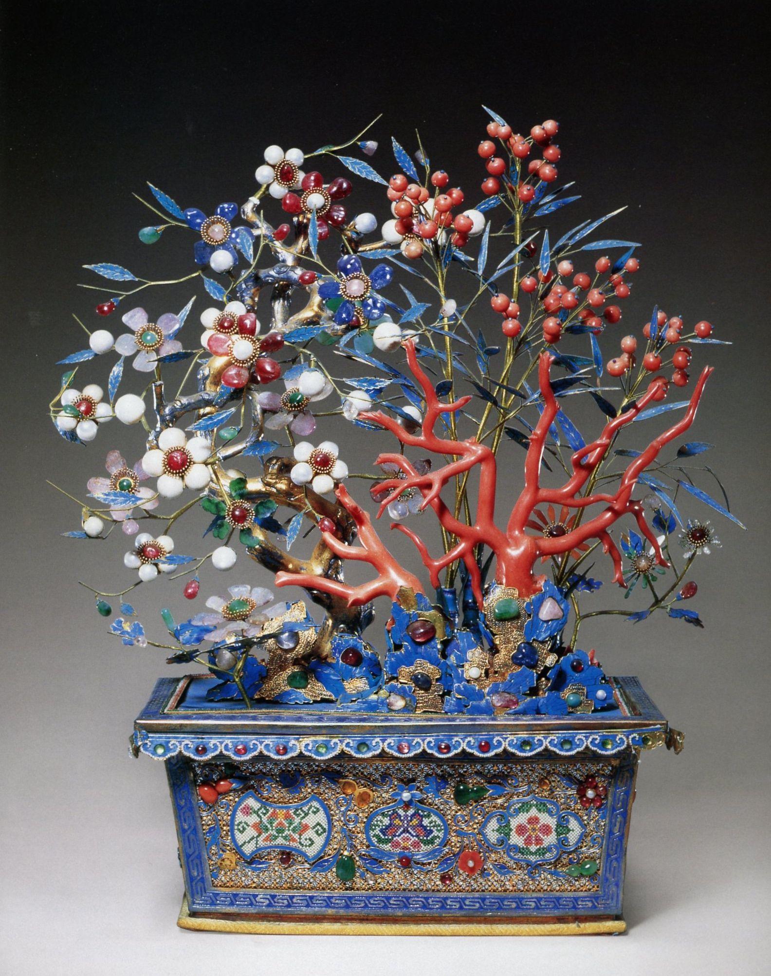 Jade Flower Tree Featuring White Jade Rubies Emeralds Pearls