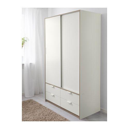 Armoire portes couliss 4tiroirs trysil blanc home i for Armadio ante scorrevoli ikea misure