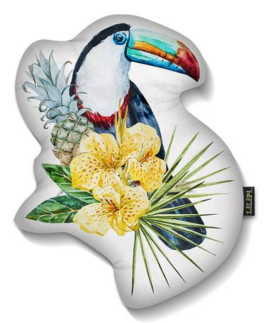 Tropical Flower Toucan Accent Pillow #zulily #zulilyfinds