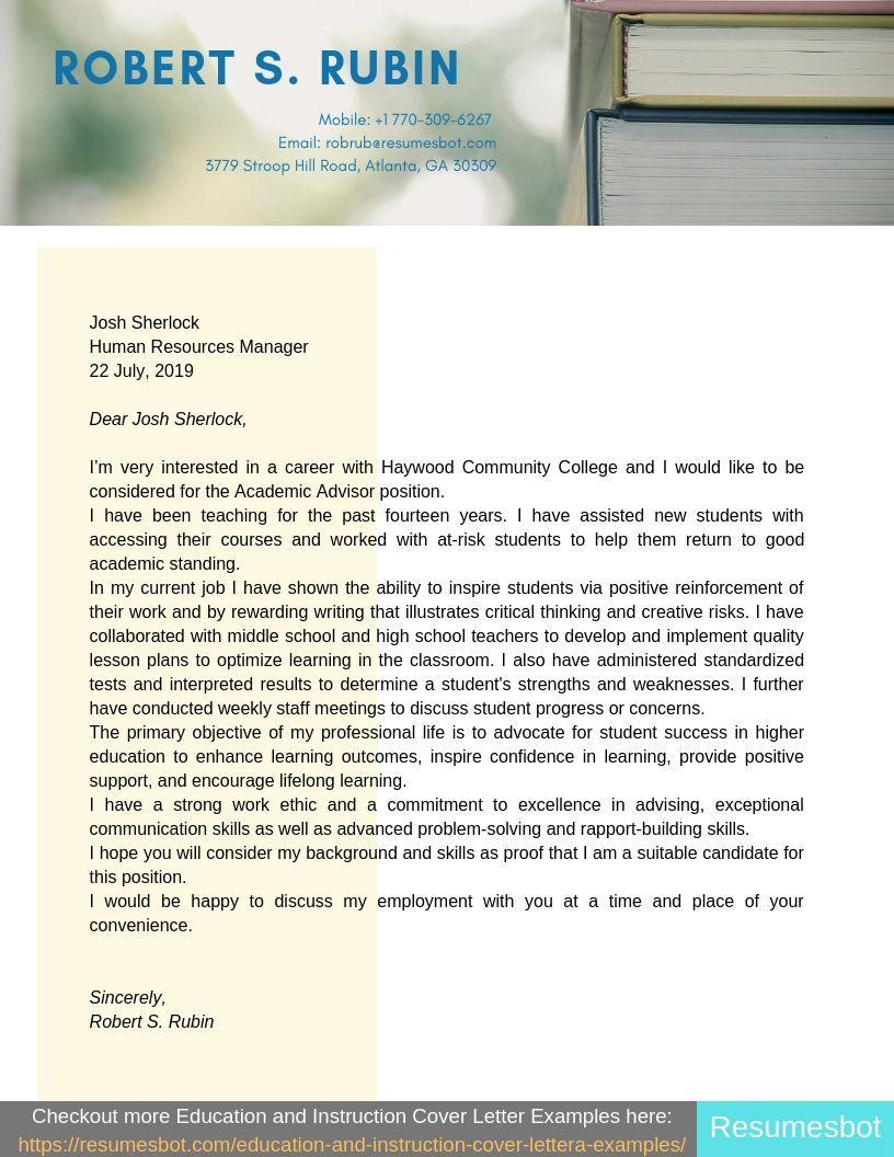 Academic Advisor Cover Letter Samples & Templates [PDF+Word ...