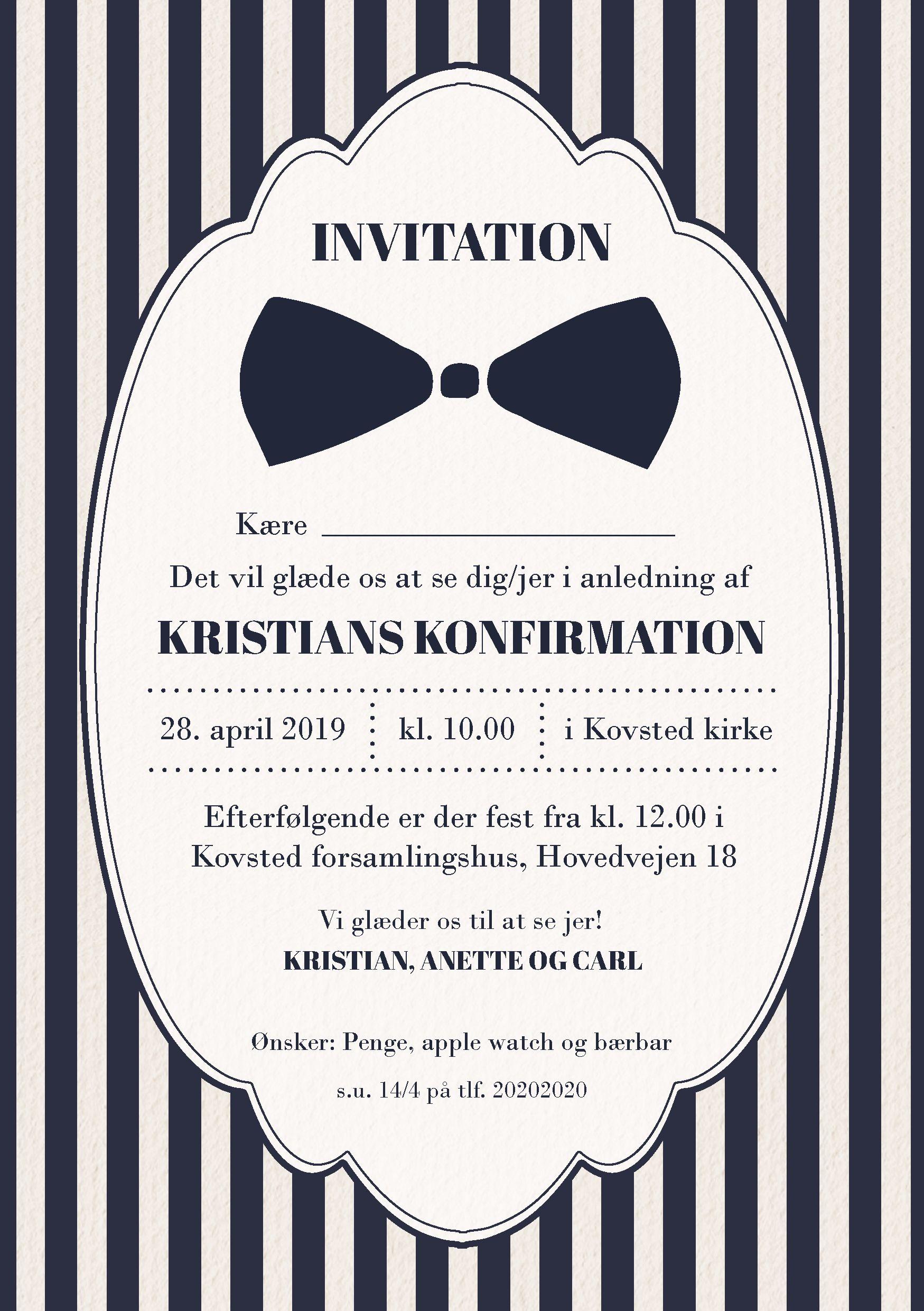 Konfirmation Invitation Invitationer Glaede