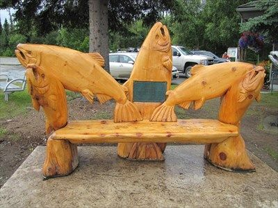Chainsaw Carved Wood Benches | Salmon Bench   Soldotna, Alaska   Outside  Wooden Display Carvings