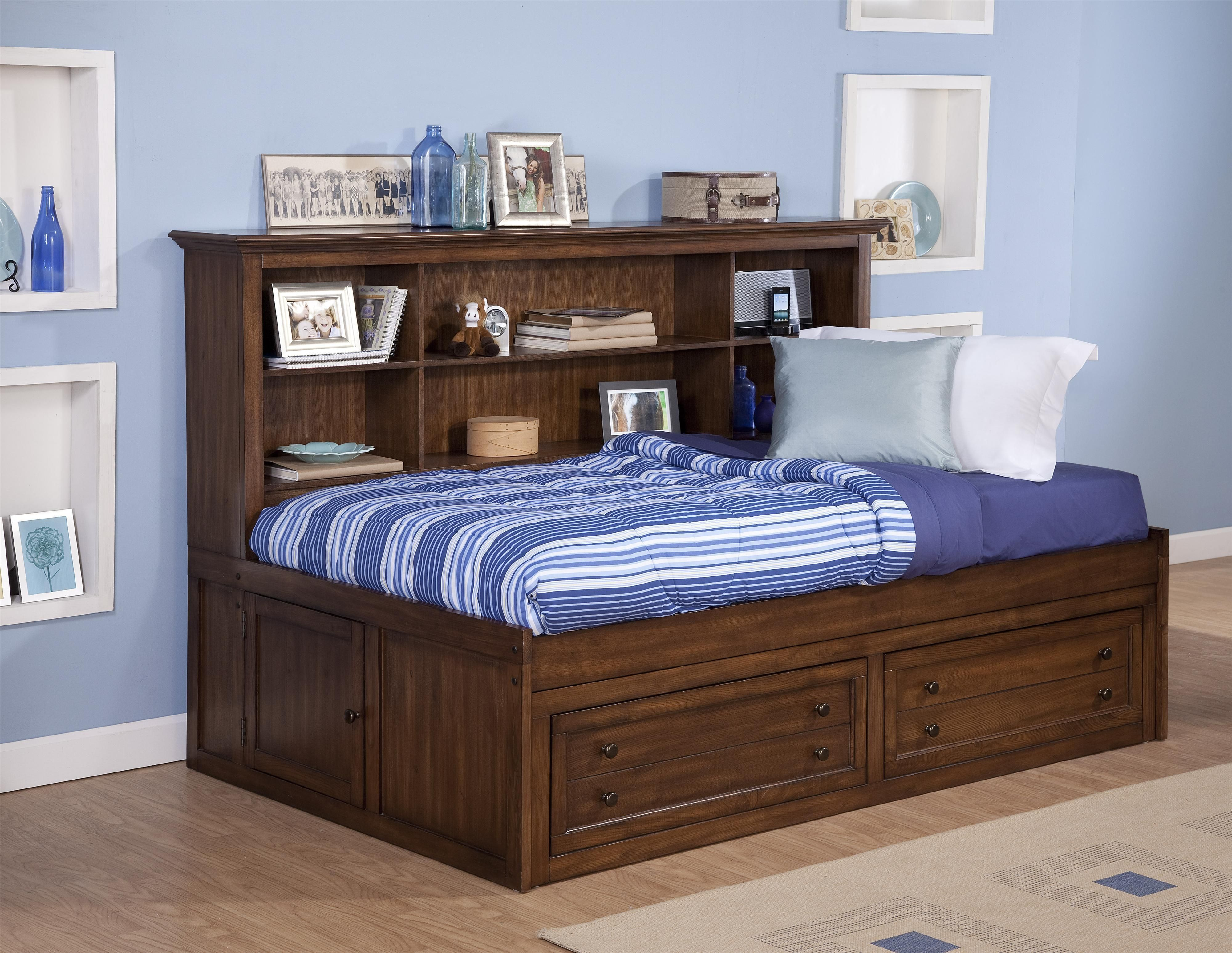 Logan Twin Size Storage Daybed With Bookcase Headboard By New