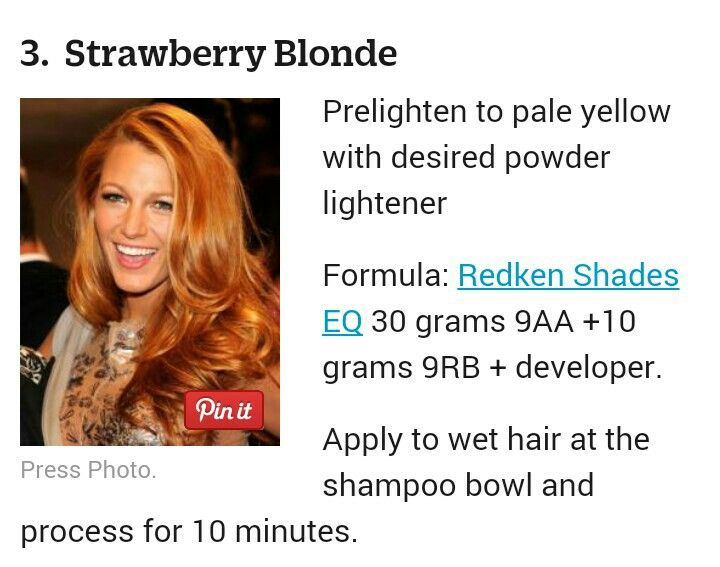 Strawberry Blonde Redken Formula Strawberry Blonde Hair Color