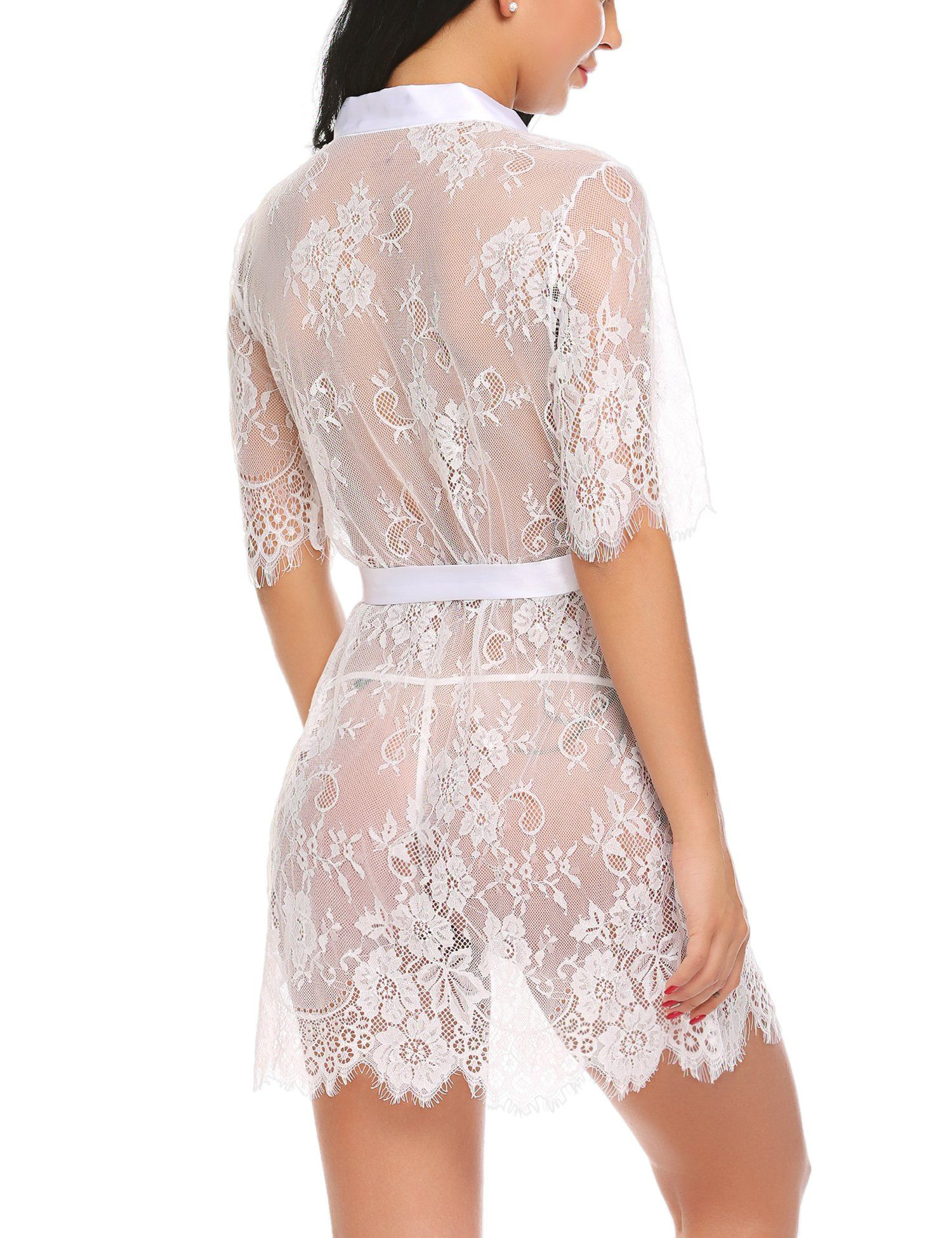 d65cc9be4a2 ADOME Womens Lingerie Kimono Robe Eyelash Lace Babydoll Sheer Nightwear  White S * For more information, visit image link. (This is an affiliate  link) # ...