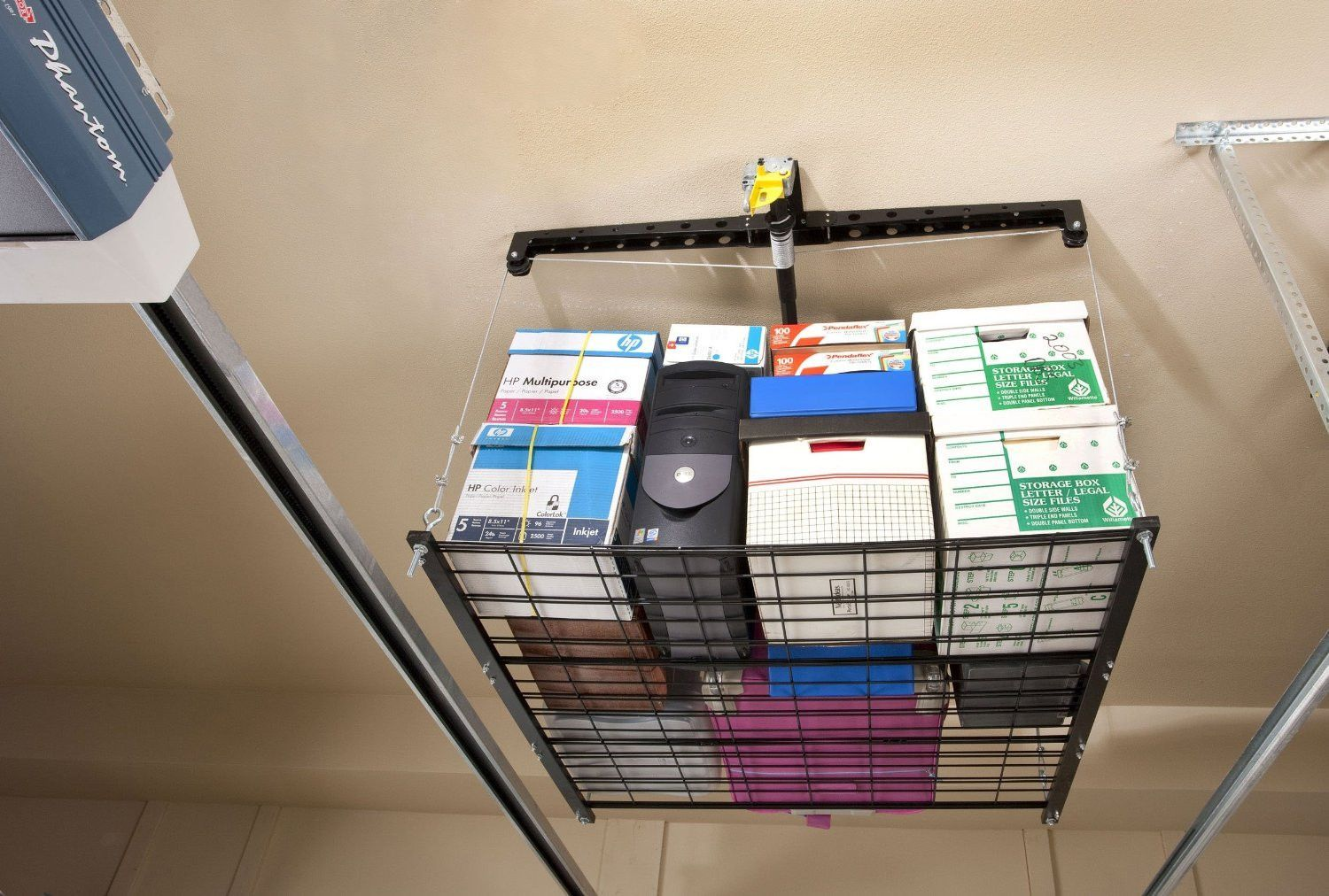 Pulley system storage rack for garage garage products and pulley