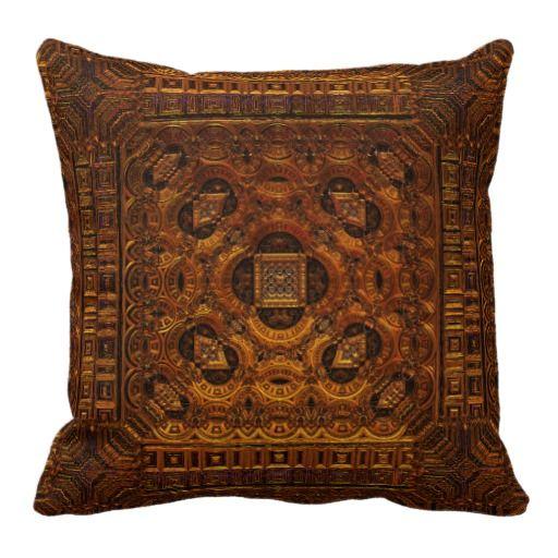 Golden Artifact Mandelbulb Throw Pillow looks like an alien creation! sci fi fantasy industrial steampunk home decor for geeks