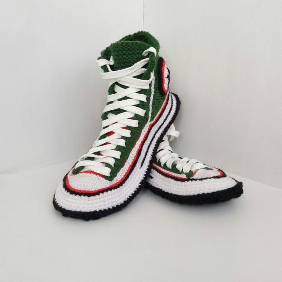 f126ce5f2b03 Crochet converse boots Men s crochet house shoes Knitted converse slippers  Converse socks Men s knit