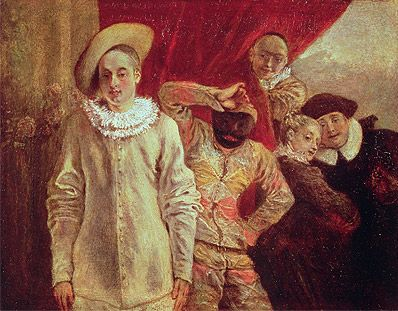 Jean Antoine Watteau - Harlequin, Pierrot and Scapin, Actors from the Commedia dell'Arte