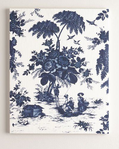 "-72NG   ""Blue Toile"" Print on Canvas, 61""T ""Blue Toile"" Print on Canvas, 52""T ""Blue Toile"" Print on Canvas, 41""T"