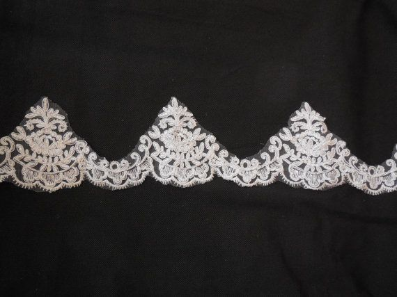 Ivory eyelash style floral lace trim Bridal Wedding by craftuneed