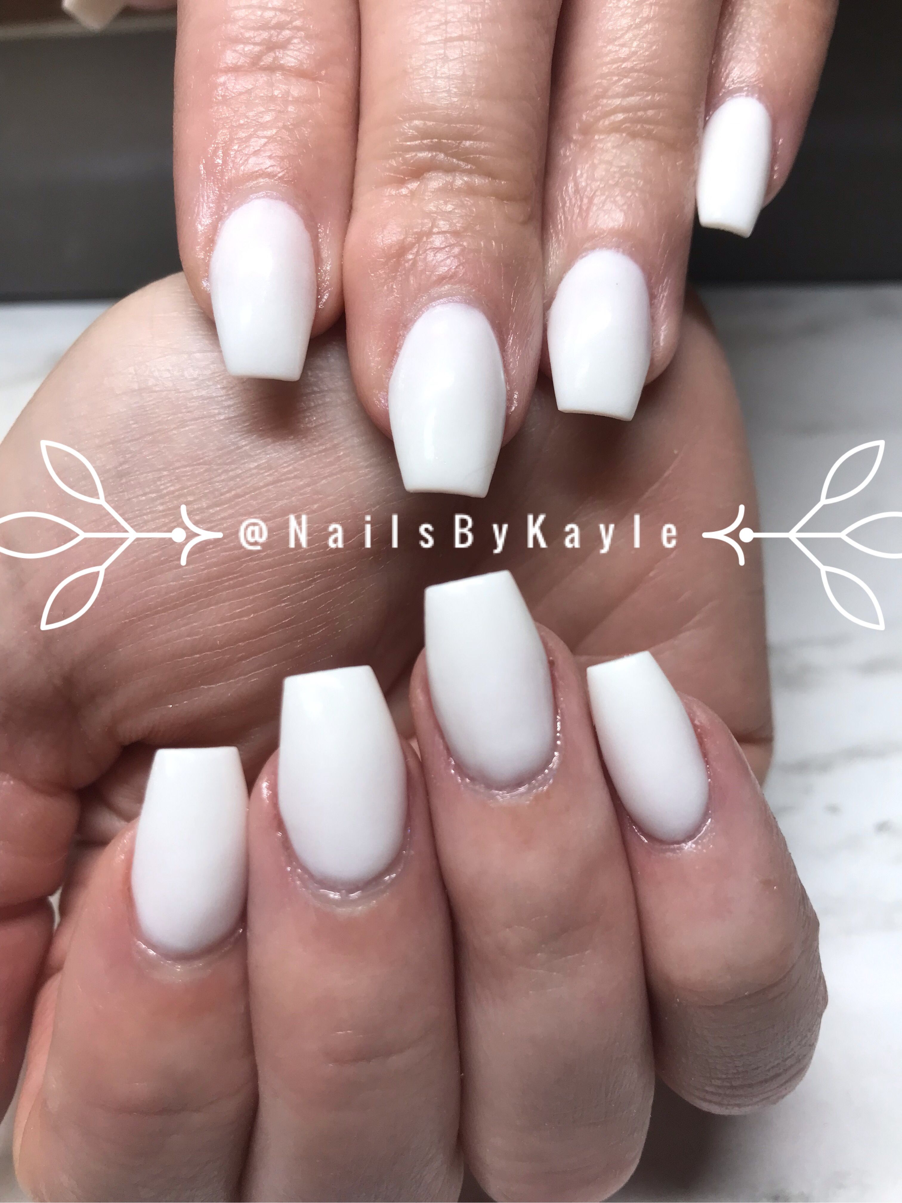 Short White Coffin Nails Perfect Summer Nails Follow Me On My