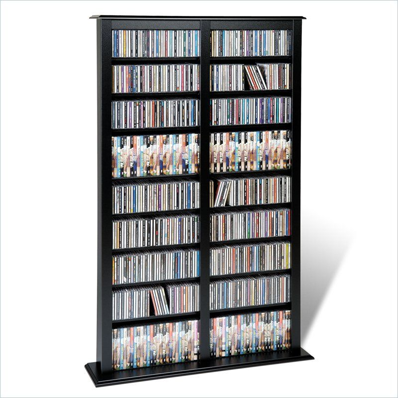 Prepac Double Width Barrister CD DVD Media Storage Tower In Black