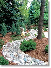 river rock flower bed designs riverbed effect in this david j - Garden Design Dry River Bed