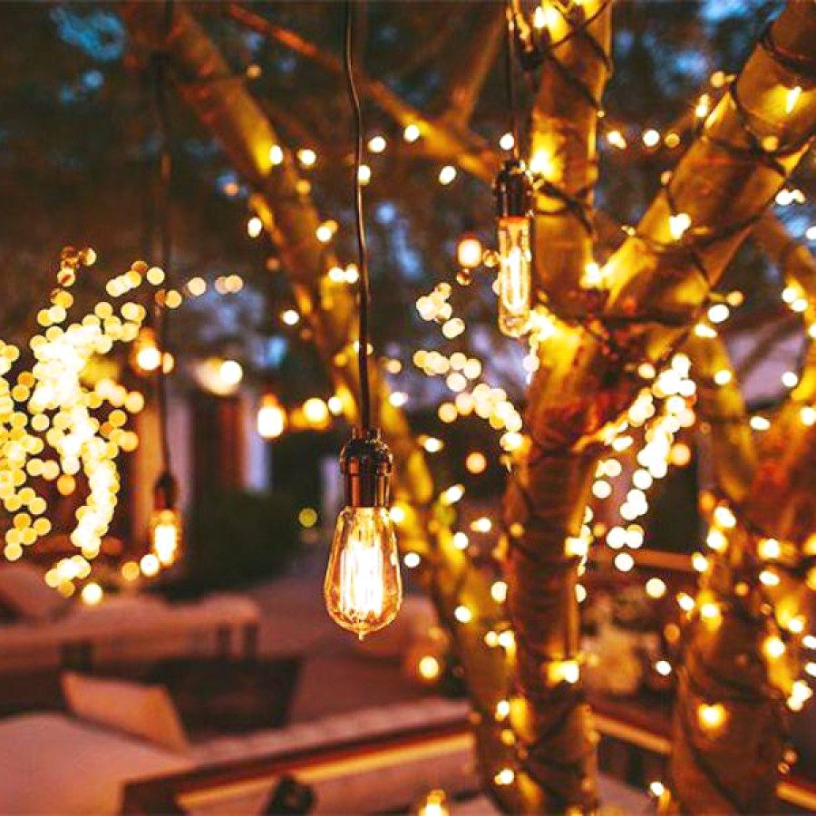 29 Beautiful Outdoor Light Designs You Should Build For Your Backyard Entertainment Outdoor Fairy Lights Hanging Christmas Lights Diwali Lights
