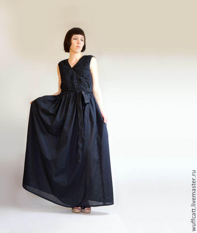 Черное длинное летнее платье купить