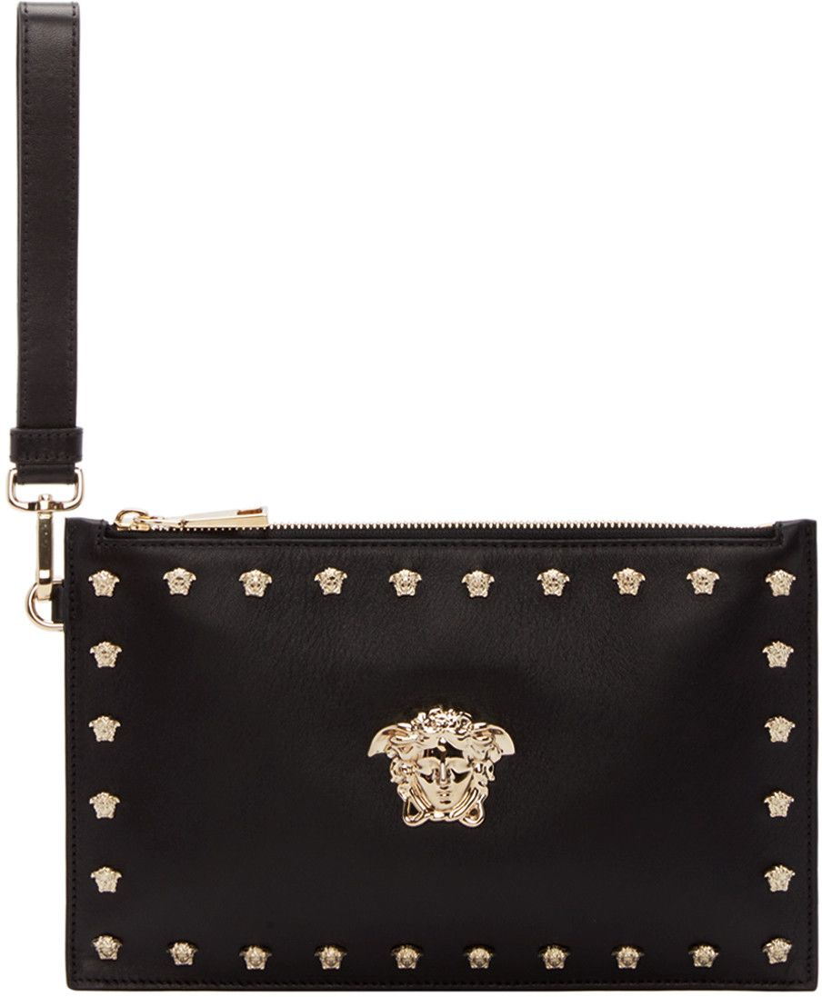 Versace Black Leather Pouch With Medusa Studs  ad36831a2da4a
