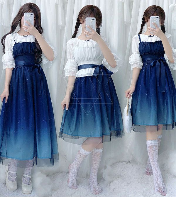 Summer Suit Cute Lolita Dress Japanese Style Jumper Skirt Suit