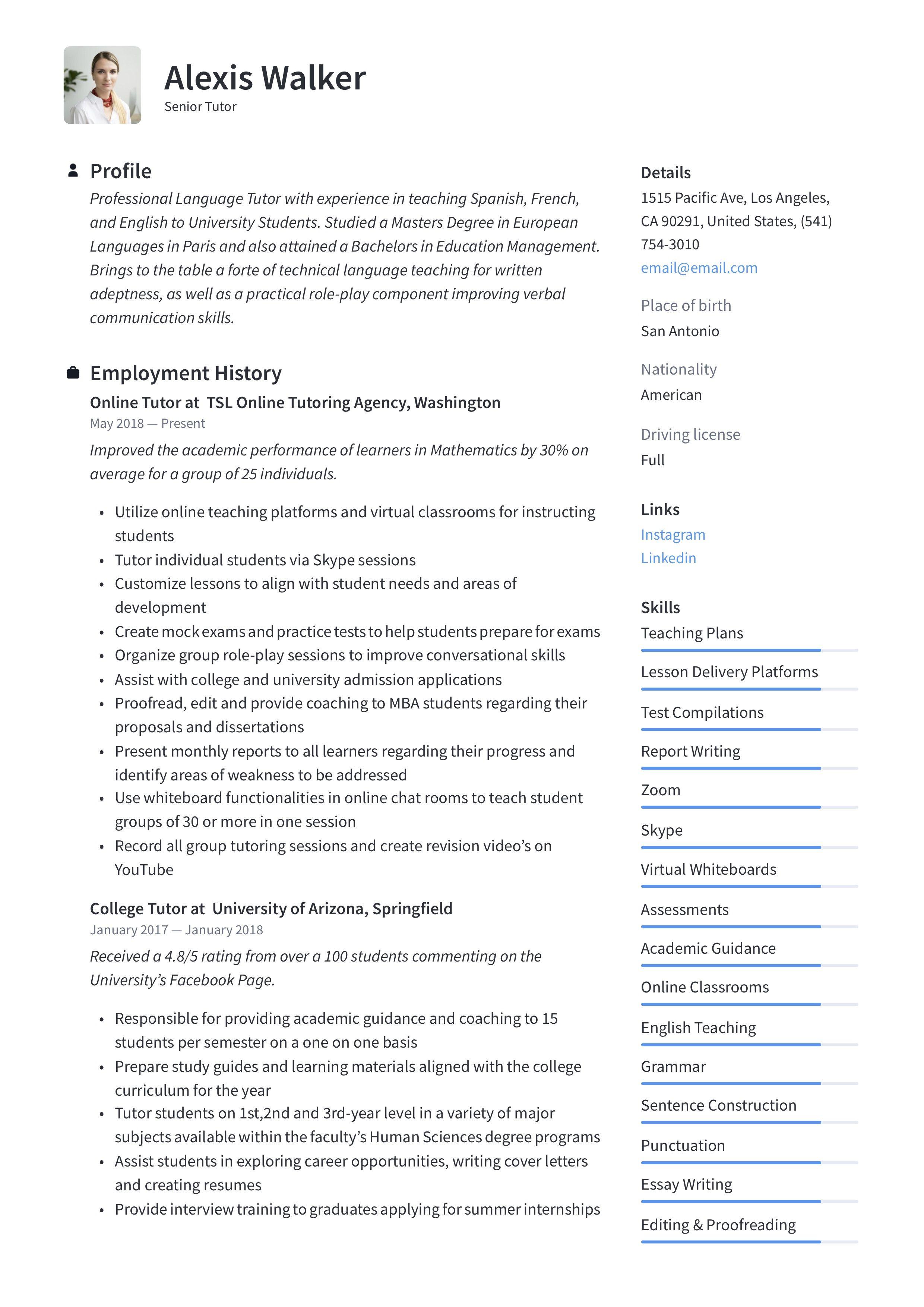 Private tutor resume resume