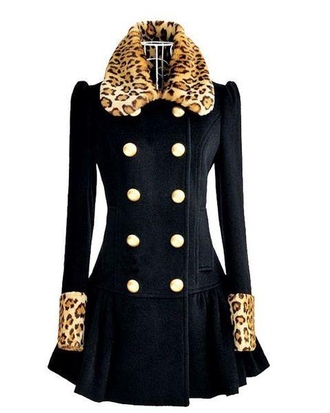 fef5a509e Navy Blue Coat Leopard Collar Super Quality Leopard Blazer Jacket ...