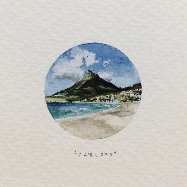 Day 97 : View of Lion's Head from Camp's Bay beach. 28 x 28 mm. #365postcardsforants #miniature #watercolour #wdc624 #campsbay #lionshead #capetown (at Camps Bay Beach)