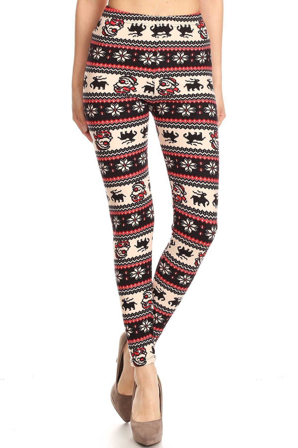 christmas fair isle print reindeer high waist legging - Christmas Print Leggings