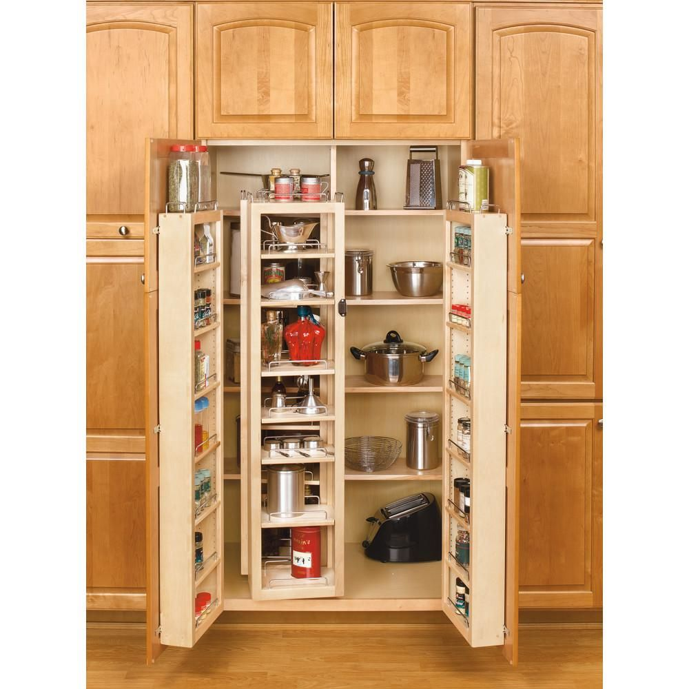 Rev A Shelf 57 In H X 12 In W X 7 5 In D Wood Swing Out Cabinet Pantry Kit 4wp18 57 Kit The Home Depot In 2020 Tall Kitchen Cabinets Pantry Cabinet Pantry Storage