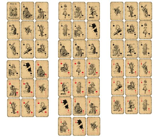 graphic regarding Printable Playing Card Stock called Alice within just Wonderland participating in playing cards comprehensive deck printable