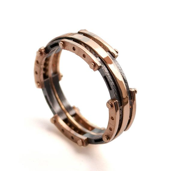Gold Wedding Band Mens 18K Rose Gold and Oxidized Silver Wedding