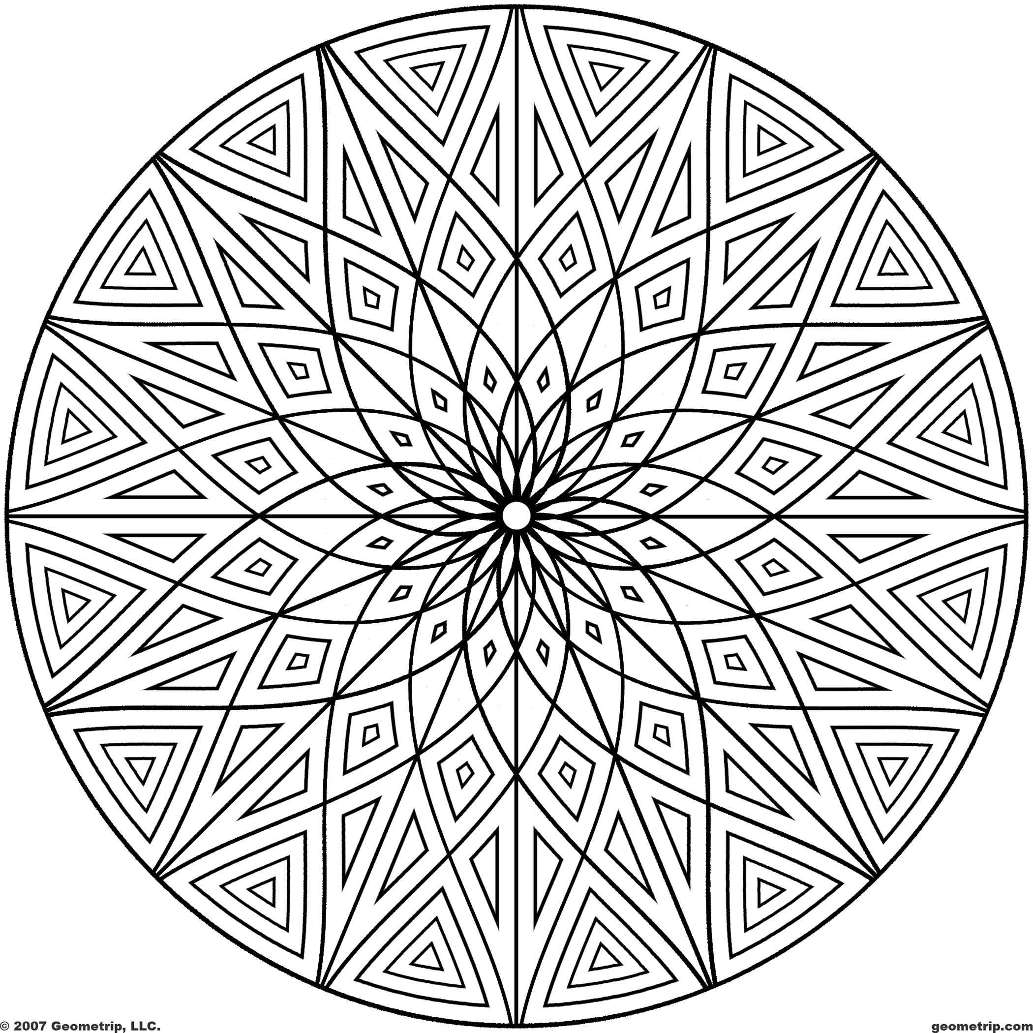 Printable geometric patterns free for Circle pattern coloring pages