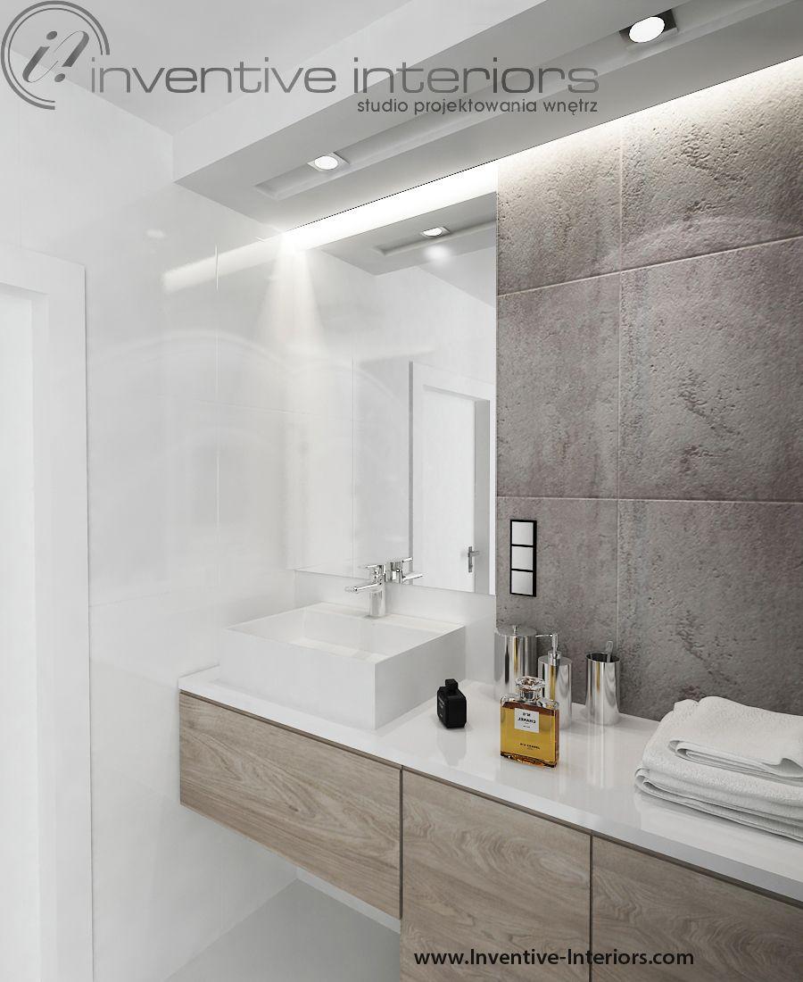 Projekt Mieszkania Inventive Interiors Białe Płytki Beton