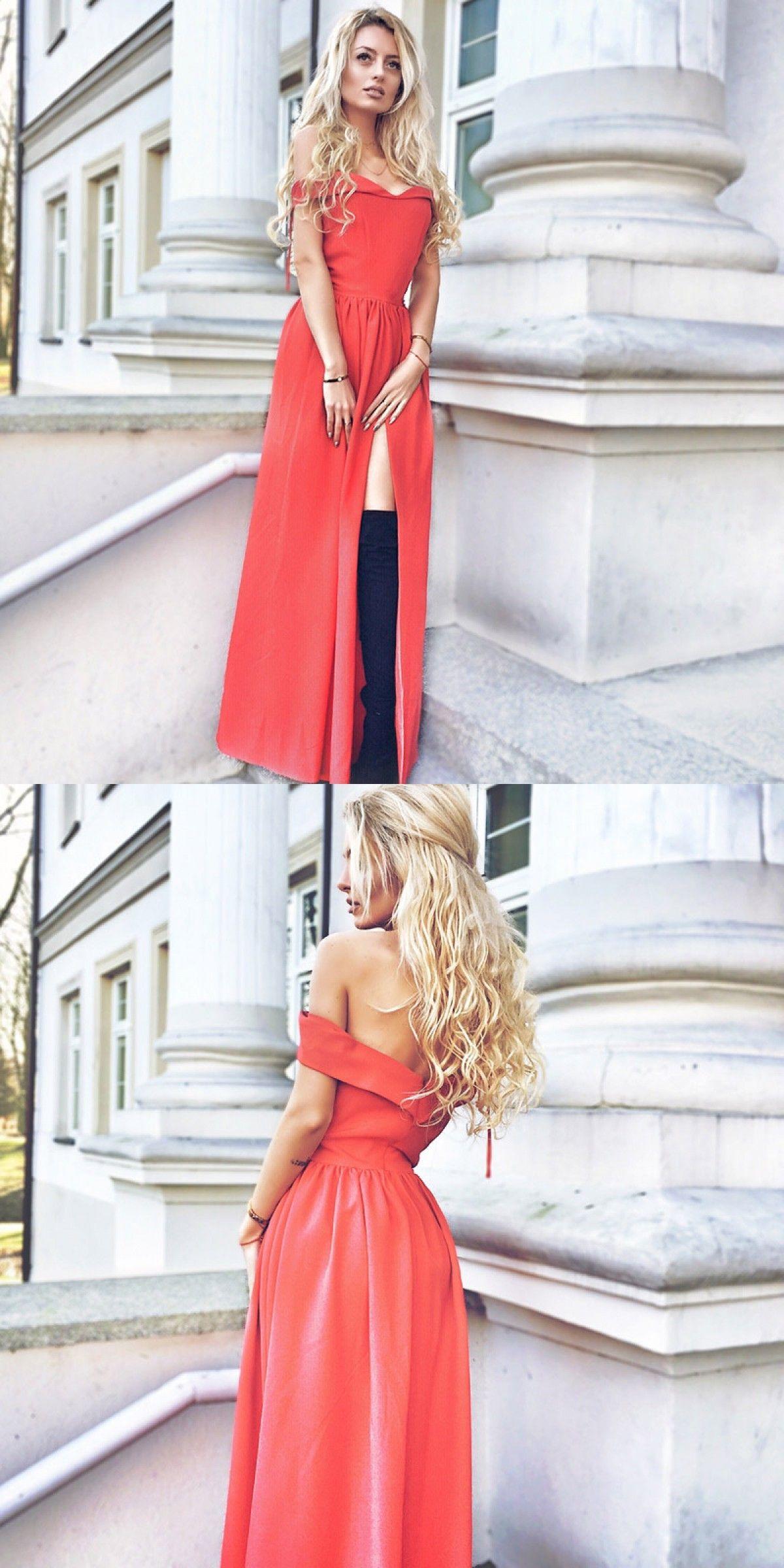 Aline off the shoulder split front red prom dress prom