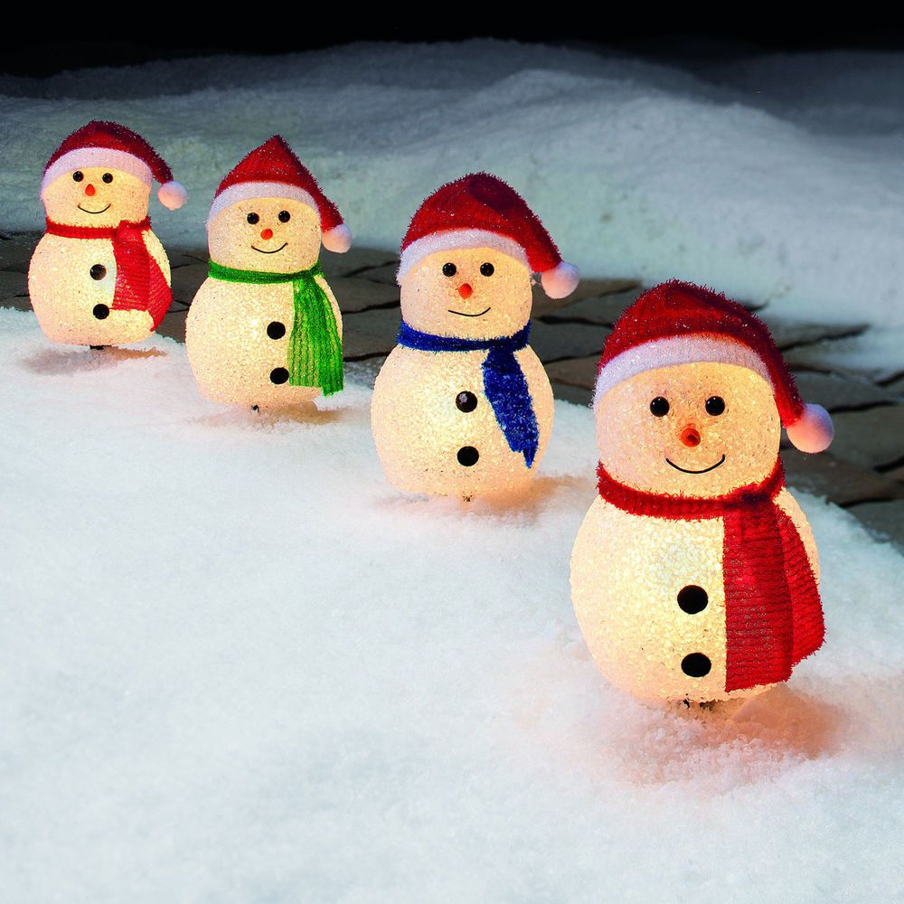 Outdoor Christmas Holiday Path Lights Set of 4 Snowman ...