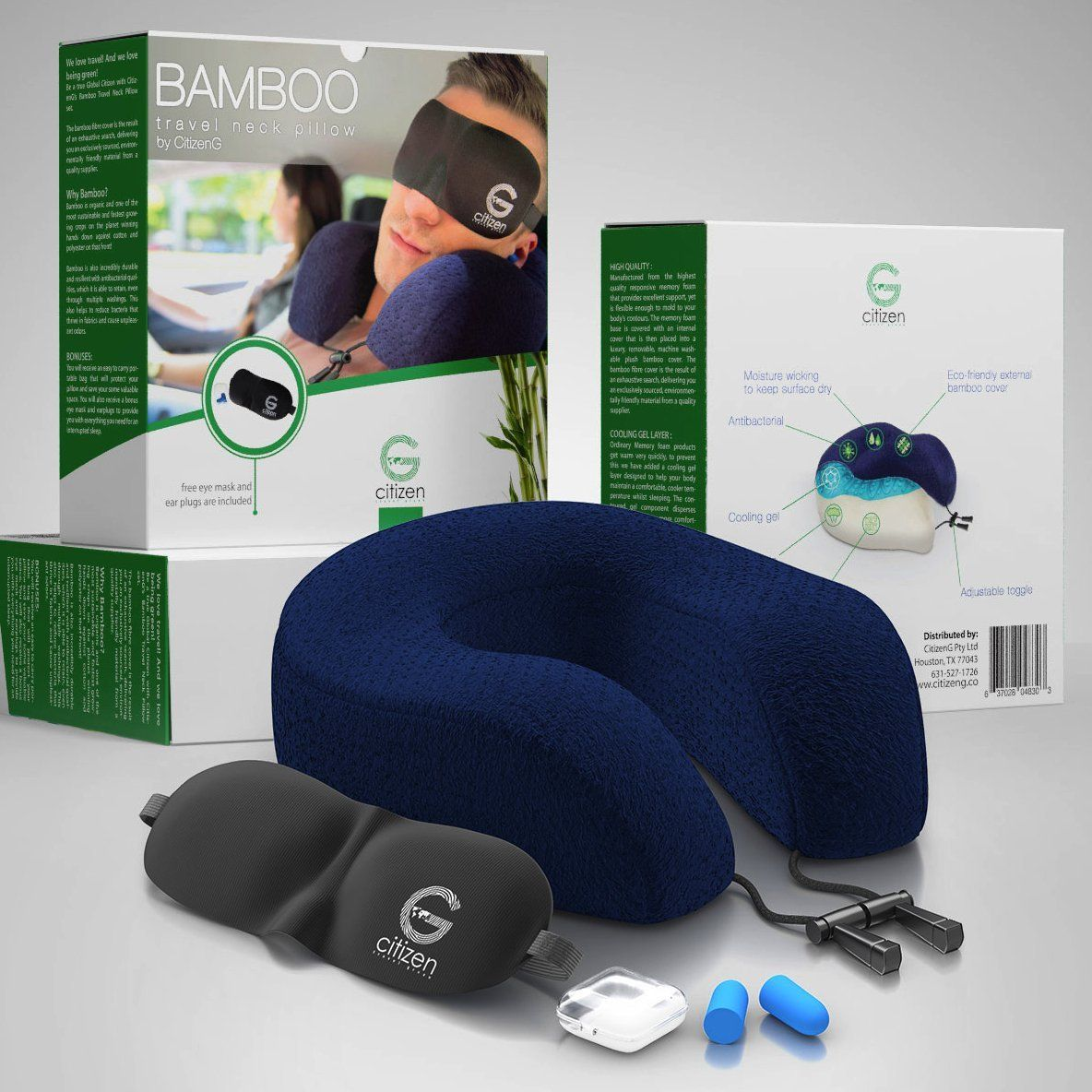 Amazon Com Bamboo Travel Pillow With Memory Foam Cooling Gel