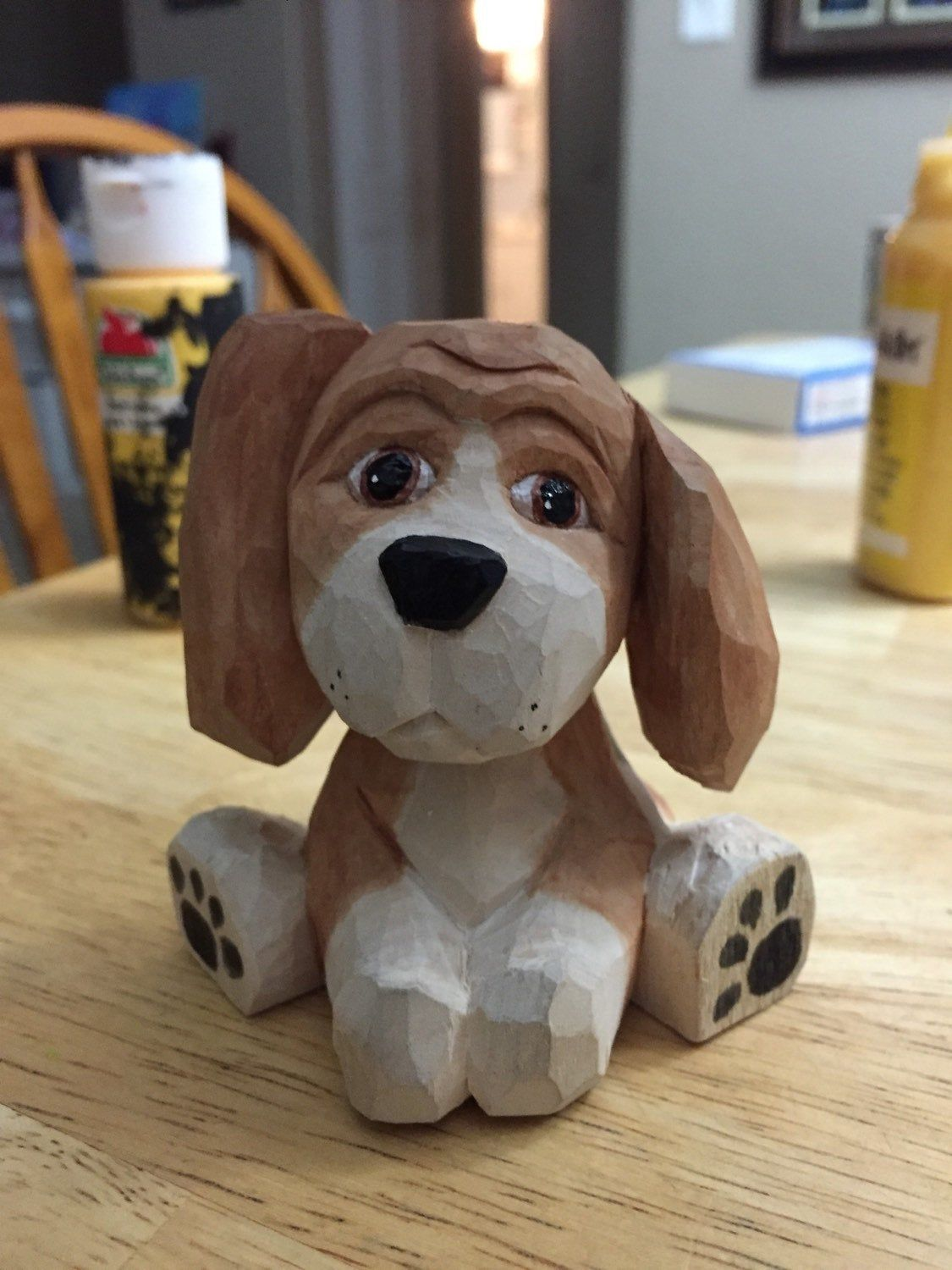 Handcarved Beagle Puppy Wood carving patterns, Wood