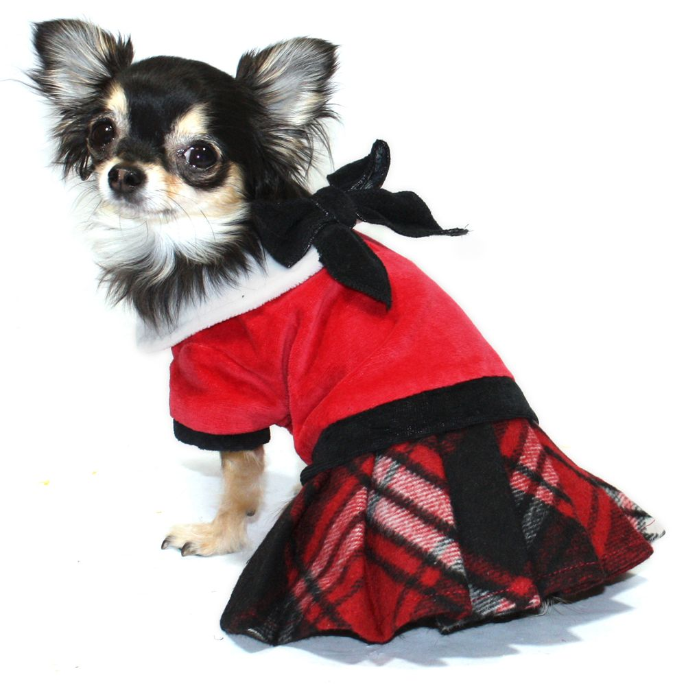 Hip Doggie Plaid Jumper with Skirt Girl dog clothes, Dog