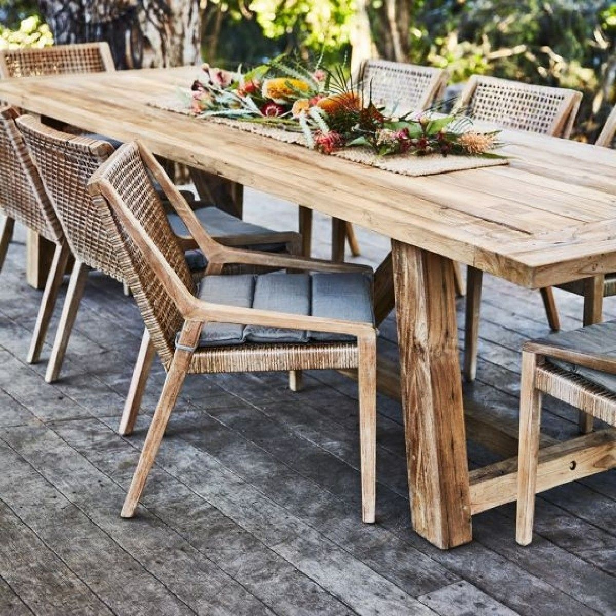 Highgate Reclaimed Teak 8 Seater Table 3200 X 1000 With 8 Weave Dining Chairs Package Packa Outdoor Dining Furniture Woven Dining Chairs Outdoor Dining Table