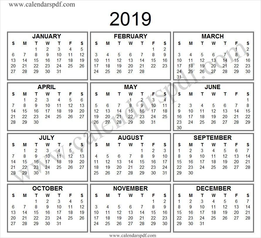 Black And White Calendar 2019 Yearly Calendar 2019 Pinterest