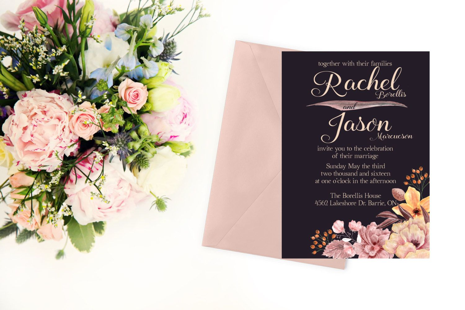 what do you say on wedding invitation%0A Wedding Invitation  Floral Wedding Invitation  The Olivia Collection   Purple Wedding Invitation  Plum