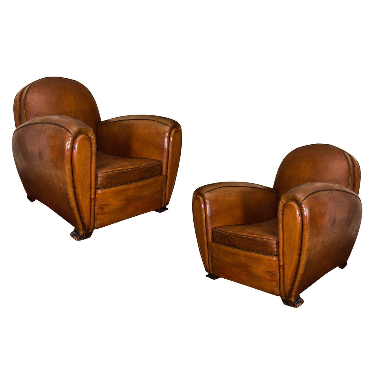French Round Back Leather Club Chairs