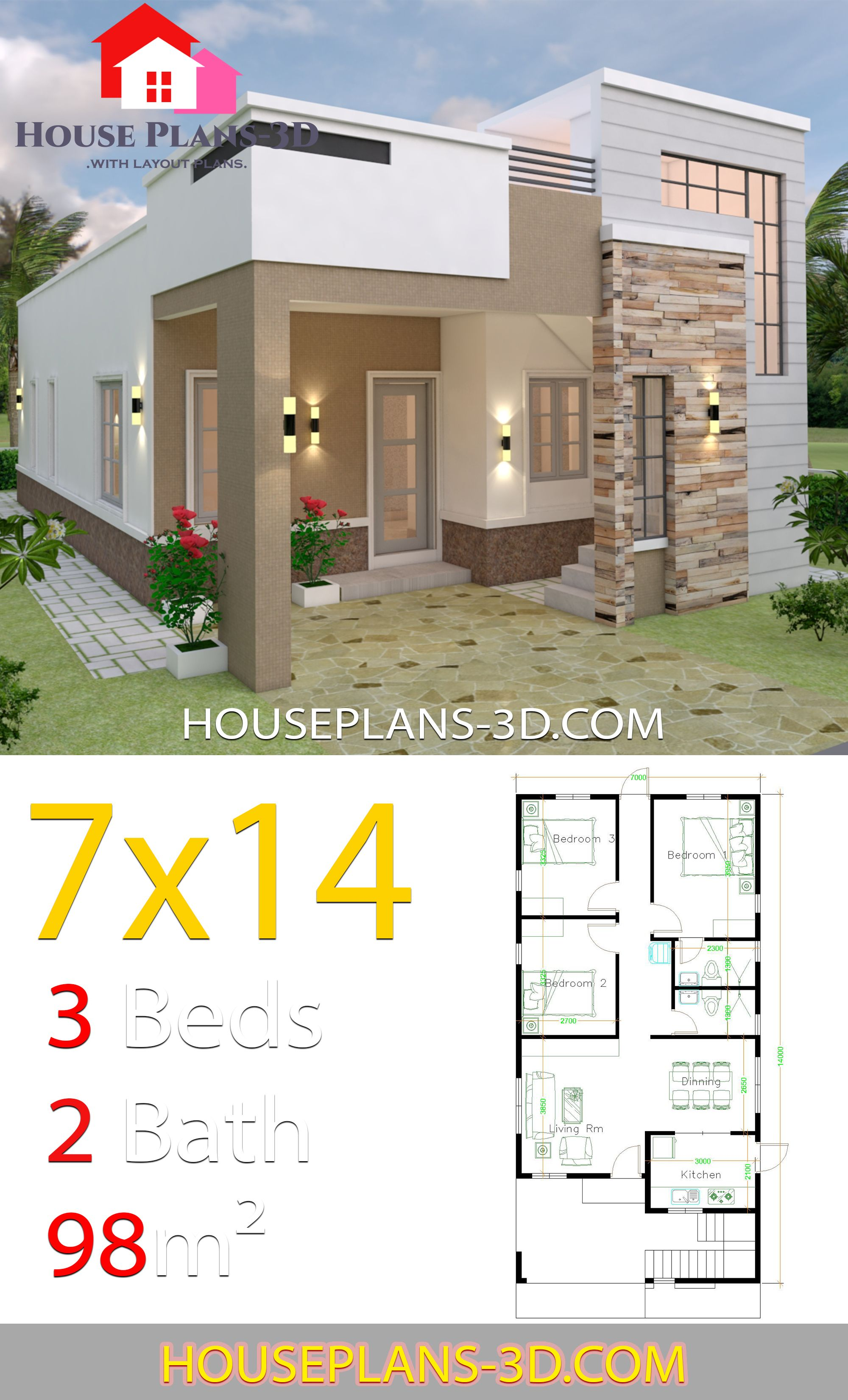 House Design 7x14 With 3 Bedrooms Terrace Roof House Plans 3d Croquis De Casas Pequenas Planos De Casas Medidas Casas Modernas Simples