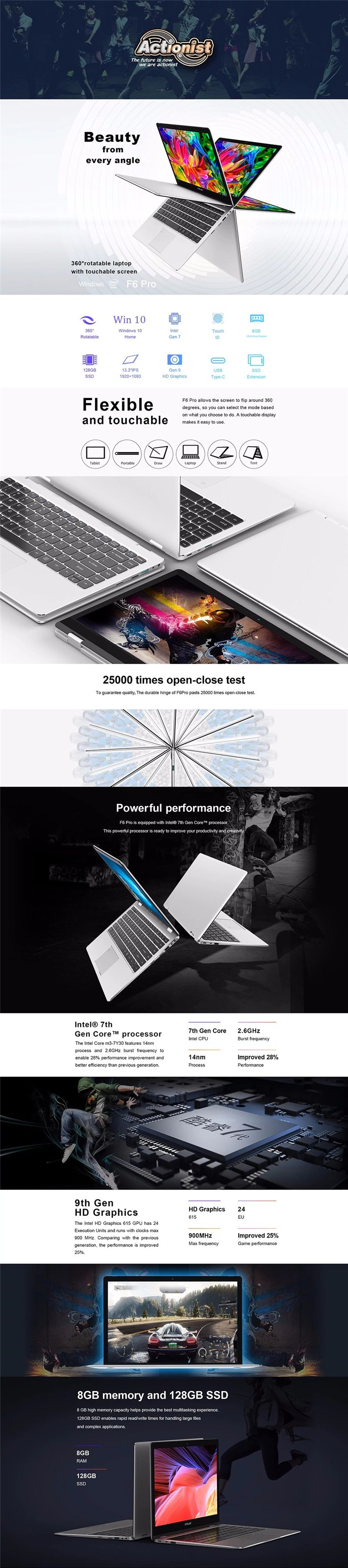 Teclast F6 Pro Notebook 13.3 inch 360 Degree Touch Screen Intel Core m3-7Y30 8GB/128GB SSD Fingerprint Recognition Silver Laptops & Netbooks from ...