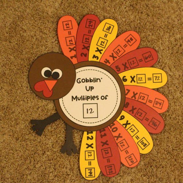 Turkey Multiplication Craft Thanksgiving Math Activities Third Grade Thanksgiving Activities Halloween Math Activities