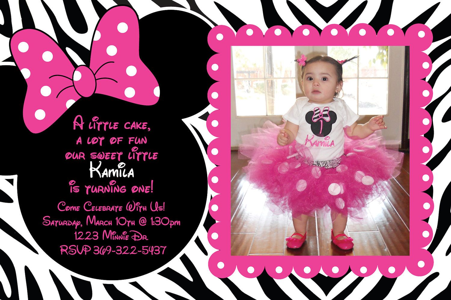 Minnie Mouse Zebra Birthday Party Custom Invitation OR Thank you ...