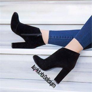 Sergel Suet Siyah Kalin Topuklu Bot Fashion Trend Shoes Heels Black Topuklular Ayakkabilar Bot