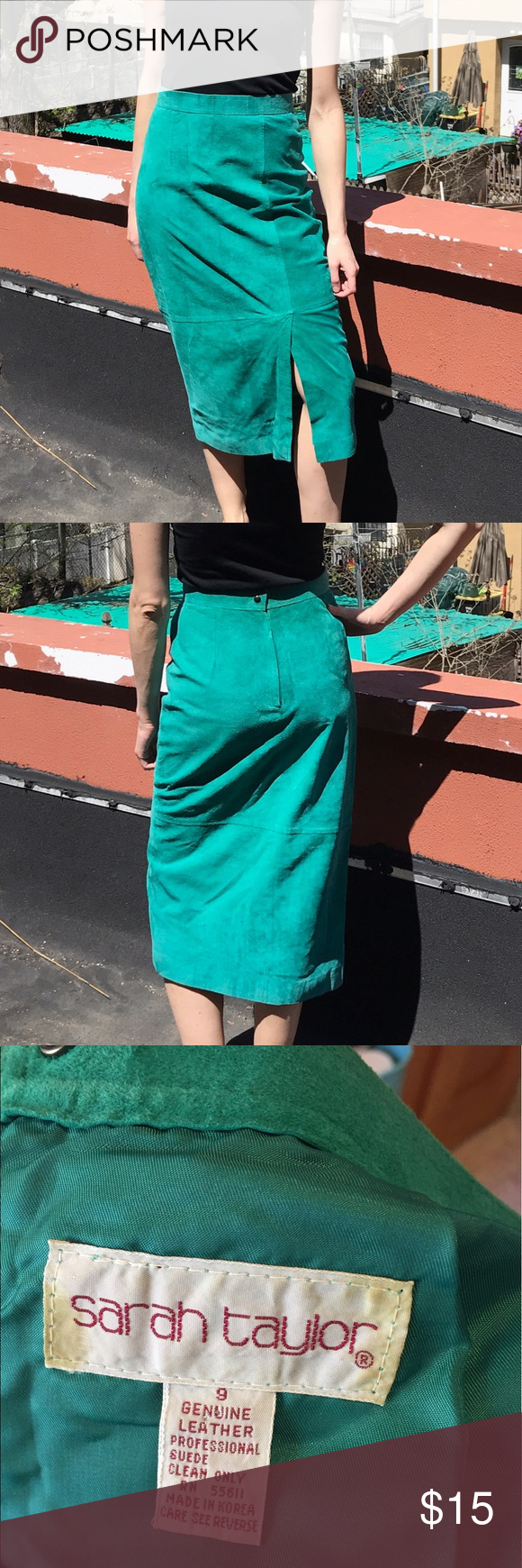 Green 2 piece dress  Vintage green suede skirt This is the coolest skirt in the world