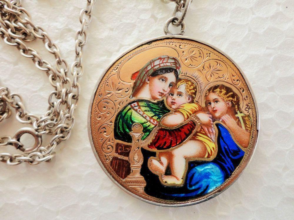 Biedermeier Silber - Gold - Emailanhänger mit Silberkette, 800er Silber