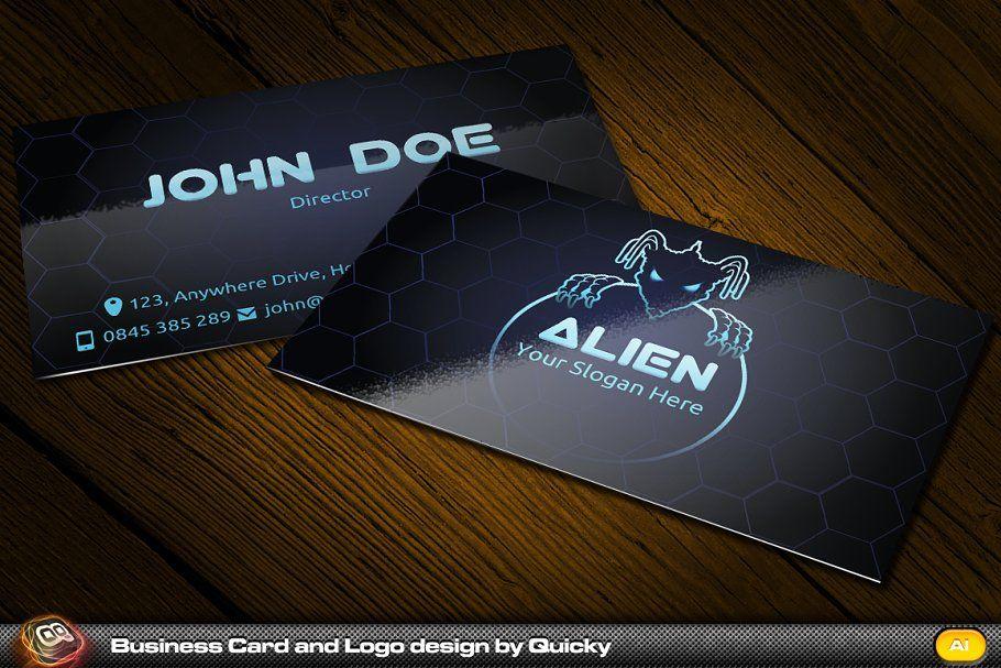 Alien Business Card And Logo Business Card Logo Design Minimalist Business Cards Business Card Template Design