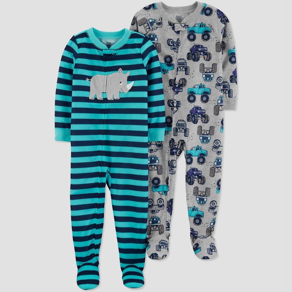 f799f73b0dd Toddler Boys  Stripe Rhino Pajama Set - Just One You made by carter s Blue  2T